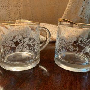 Frosted Grape Pattern Glass Milk and Sugar Set